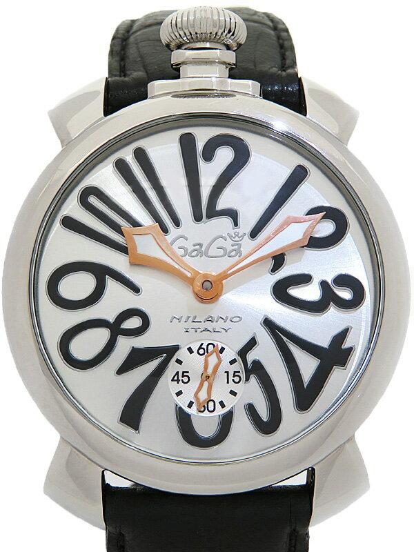 【GaGa MILANO】【裏スケ】ガガミラノ『マヌアーレ 48mm』5010.7 メンズ 手巻き 1ヶ月保証【中古】
