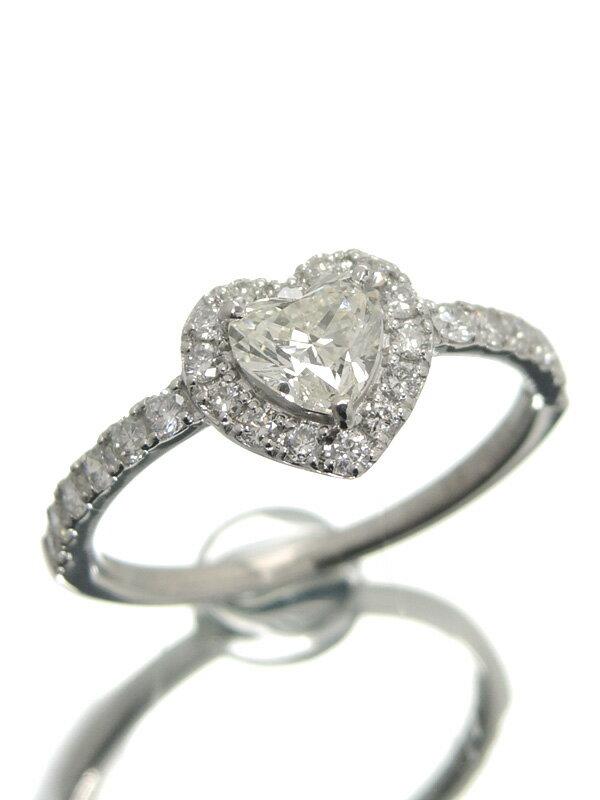 【ソーティング】【仕上済】セレクトジュエリー『PT900リング ダイヤモンド0.468ct/K/SI-1 0.36ct ハートモチーフ』10.5号 1週間保証【中古】