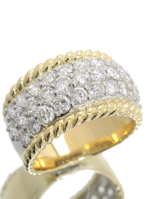 【パヴェダイヤ】【仕上済】セレクトジュエリー『K18YG/PT900リング ダイヤモンド2.40ct』12号 1週間保証【中古】
