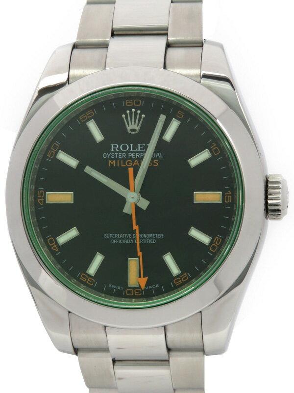 【ROLEX】ロレックス『ミルガウス グリーンガラス』116400GV M番'07年頃製 メンズ 自動巻き 12ヶ月保証【中古】