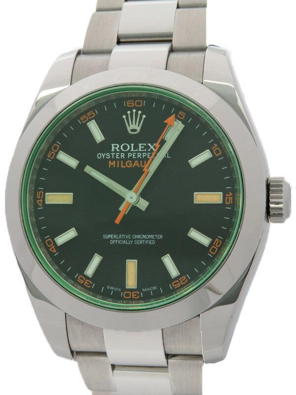 【ROLEX】ロレックス『ミルガウス グリーンガラス』116400GV G番'10年頃製 メンズ 自動巻き 12ヶ月保証【中古】