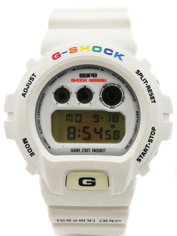 【CASIO】【G-SHOCK×BAPE】カシオ『Gショック ア ベイシングエイプ コラボモデル』DW-6900 メンズ クォーツ 1週間保証【中古】