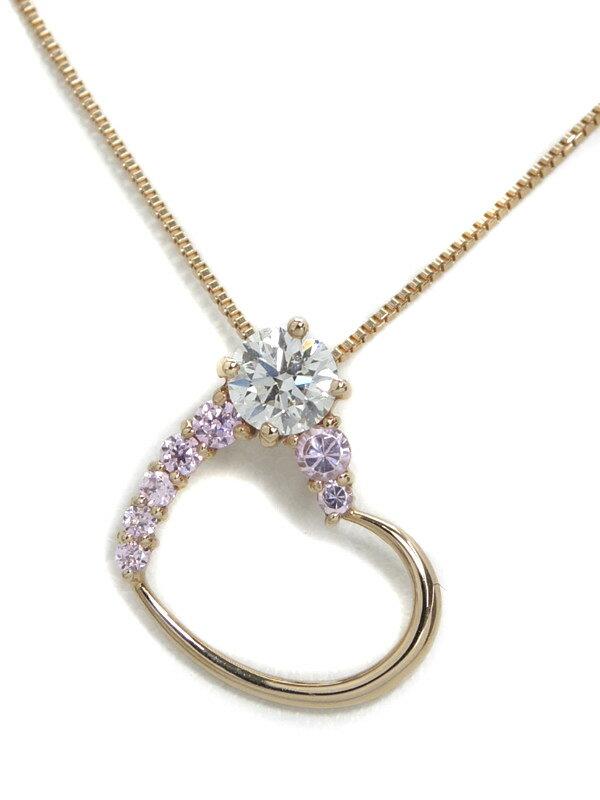 【ソーティング】セレクトジュエリー『K18PGネックレス ダイヤモンド0.231ct/F/VS-1/EXCELLENT H&C キュービックジルコニア ハートモチーフ』1週間保証【中古】