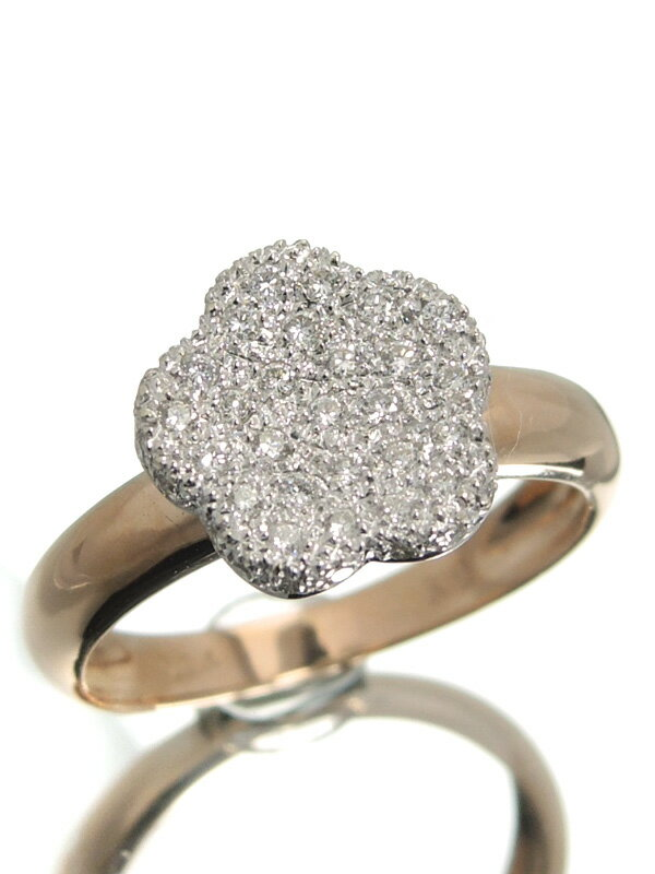 【仕上済】セレクトジュエリー『K18PG/K18WGリング ダイヤモンド0.24ct フラワーモチーフ』8号 1週間保証【中古】