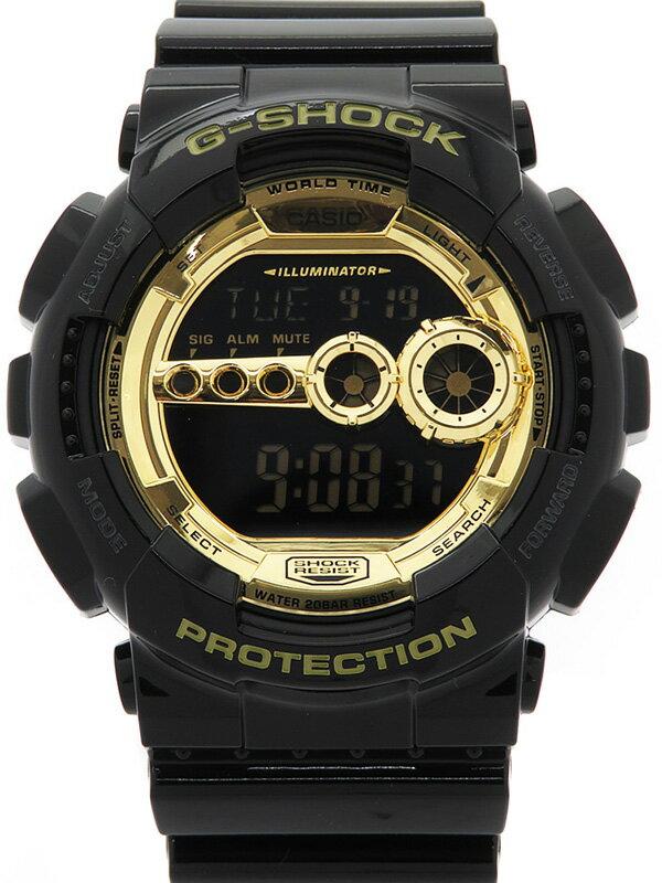 【CASIO】【G-SHOCK】【美品】カシオ『Gショック ブラック×ゴールドシリーズ』GD-100GB-1JF メンズ クォーツ 1週間保証【中古】