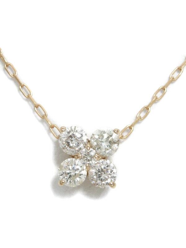 セレクトジュエリー『K18PGネックレス ダイヤモンド0.30ct フラワーモチーフ』1週間保証【中古】