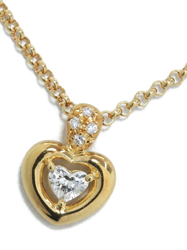 【TASAKI】タサキ『K18YGネックレス ダイヤモンド0.19ct ハートモチーフ』1週間保証【中古】