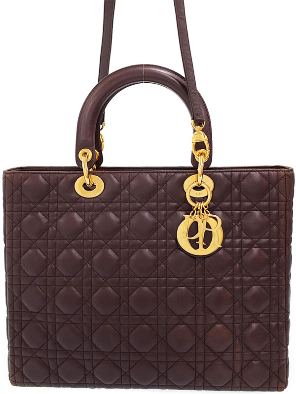 【Christian Dior】【カナージュ】クリスチャンディオール『レディディオール (L)』レディース 2WAYバッグ 1週間保証【中古】