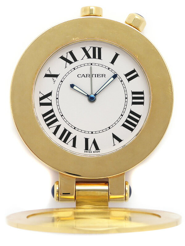 【CARTIER】【置時計】【アラーム付】【電池交換済】カルティエ『トラベルクロック』クォーツ 1週間保証【中古】