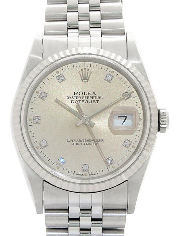 【ROLEX】【OH済】ロレックス『デイトジャスト 10Pダイヤ』16234G X番'91年頃製 メンズ 自動巻き 12ヶ月保証【中古】