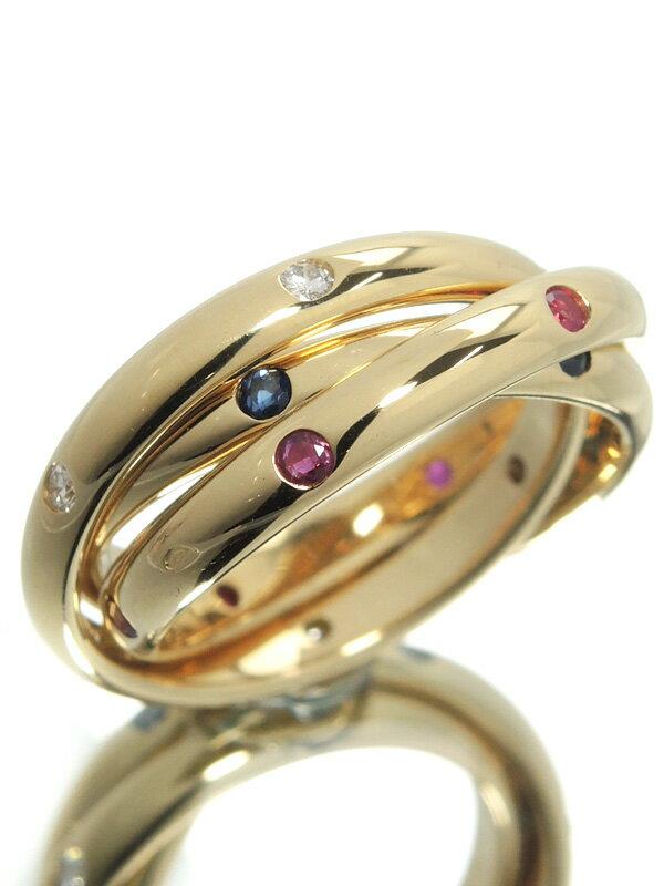 【Cartier】【仕上済】カルティエ『トリニティ リング ダイヤモンド ルビー サファイア』10号 1週間保証【中古】