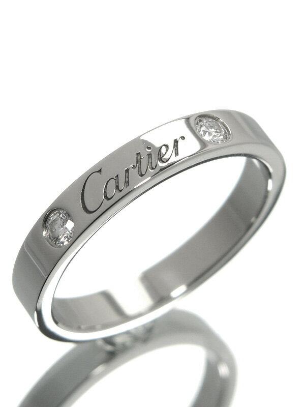 【Cartier】【仕上済】カルティエ『エングレーブド リング 2Pダイヤ』11号 1週間保証【中古】