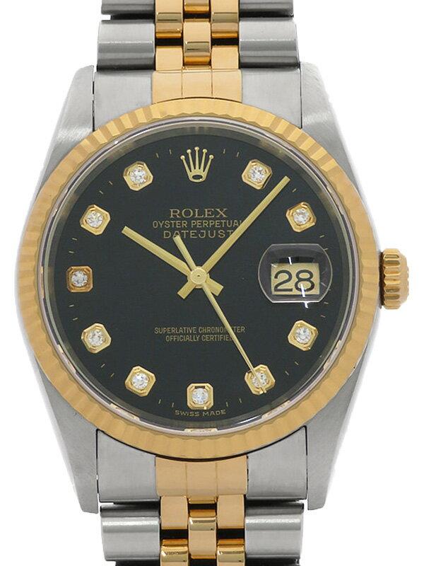 【ROLEX】ロレックス『デイトジャスト 10Pダイヤ』16233G K番'01年頃製 メンズ 自動巻き 12ヶ月保証【中古】