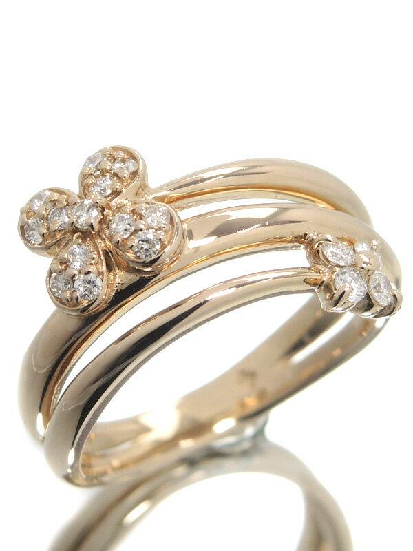 【Ponte Vecchio】ポンテヴェキオ『K18PGリング ダイヤモンド0.20ct フラワーモチーフ』10号 1週間保証【中古】