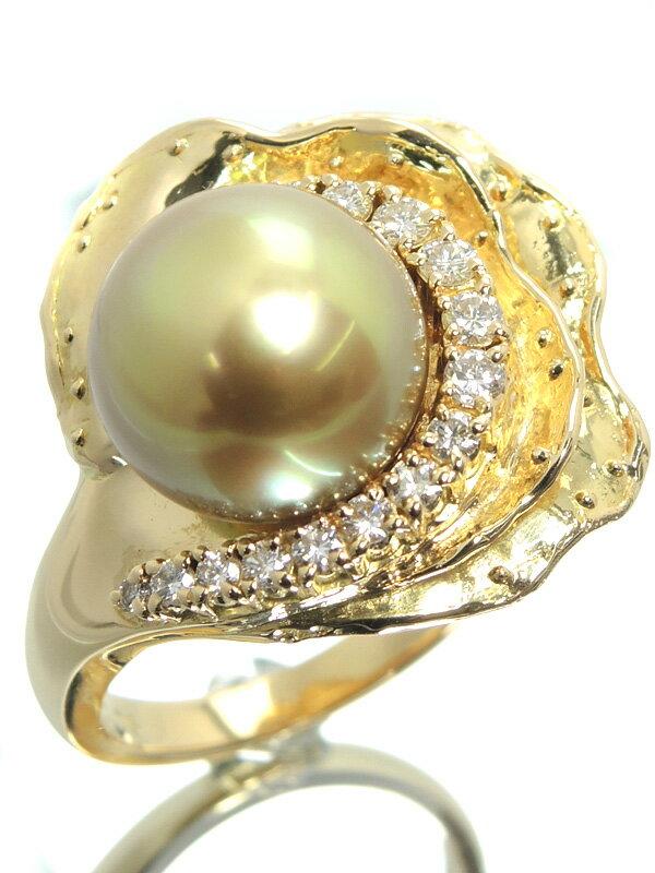 【TASAKI】【真珠鑑別書】タサキ『K18YGリング ゴールデンパール11.8mm ダイヤ0.35ct』10号 1週間保証【中古】