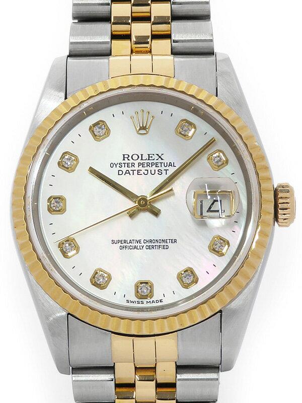 【ROLEX】ロレックス『デイトジャスト 10Pダイヤ』16233NG T番'96年頃製 メンズ 自動巻き 12ヶ月保証【中古】