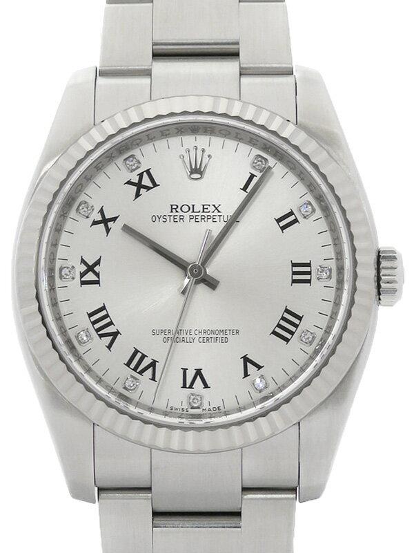 【ROLEX】【シルバーローマン】ロレックス『オイスターパーペチュアル 11Pダイヤ』116034G M番'07年頃製 メンズ 自動巻き 12ヶ月保証【中古】