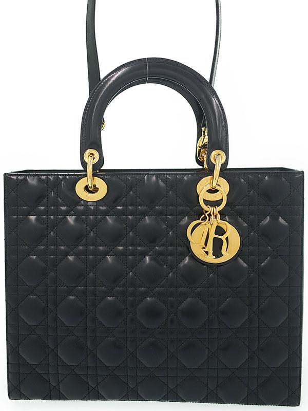 【Dior】【カナージュ】クリスチャンディオール『レディディオール(L)』レディース 2WAYバッグ 1週間保証【中古】