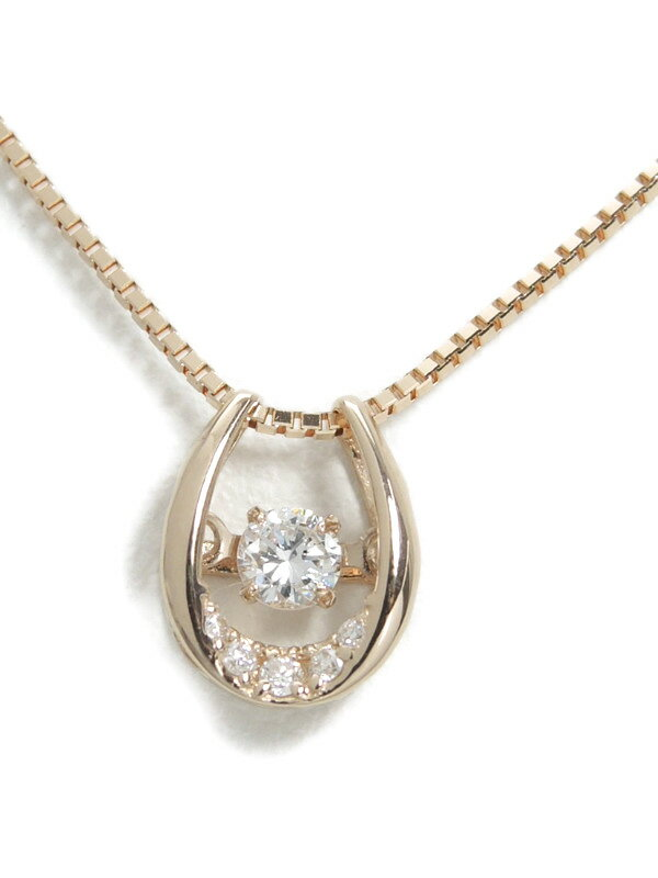 セレクトジュエリー『K18PGネックレス ダイヤモンド0.09ct 0.02ct』1週間保証【中古】