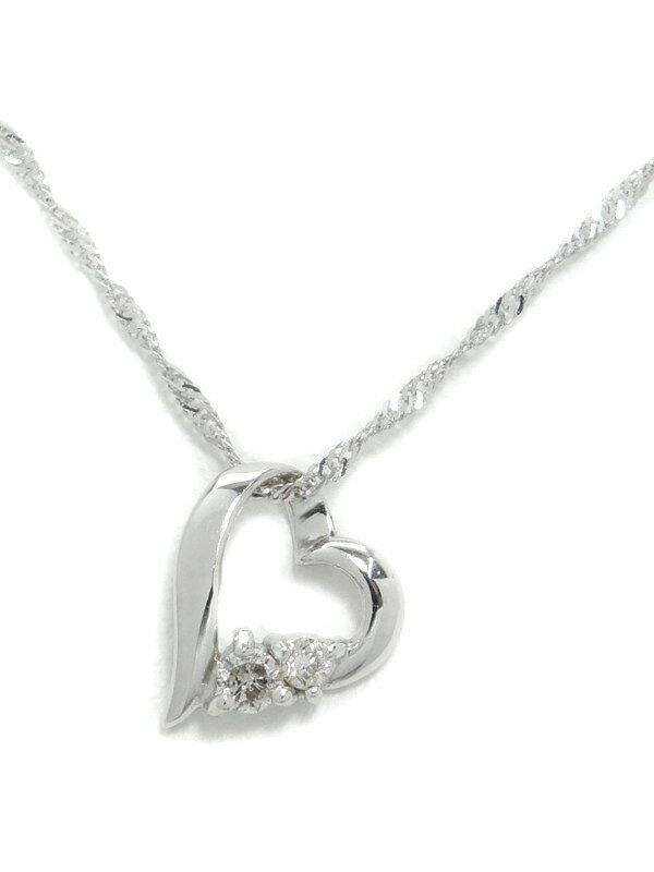 セレクトジュエリー『K18WGネックレス ダイヤモンド0.05ct ハートモチーフ』1週間保証【中古】