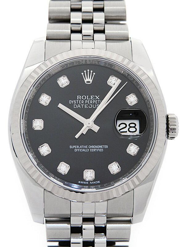 【ROLEX】【'16年購入】ロレックス『デイトジャスト 10Pダイヤ』116234G ランダム製番 メンズ 自動巻き 12ヶ月保証【中古】