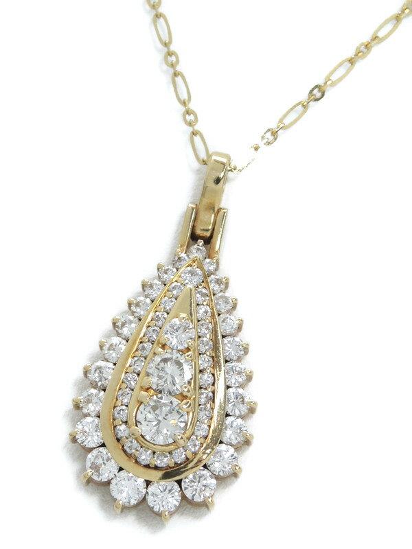 セレクトジュエリー『K18YGネックレス ダイヤモンド2.02ct ドロップモチーフ』1週間保証【中古】