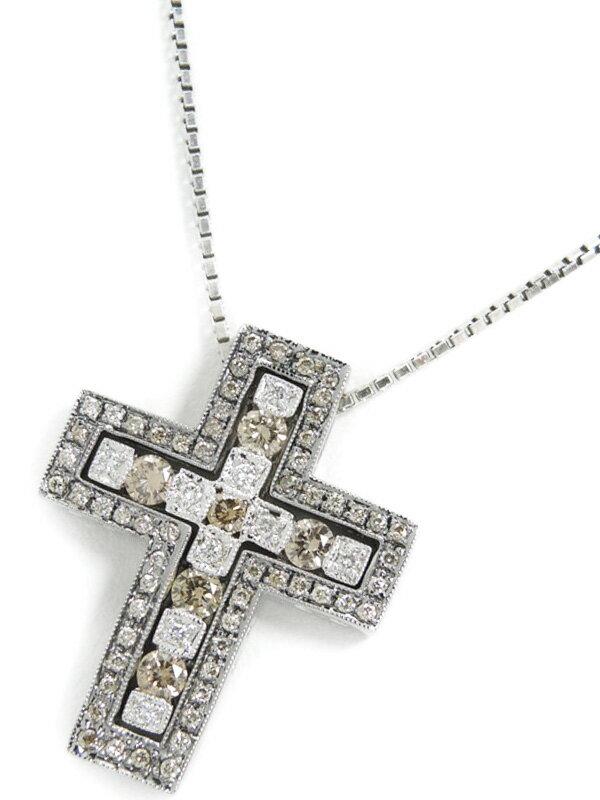 【3Way】セレクトジュエリー『K18WGネックレス ダイヤモンド0.92ct クロスモチーフ』1週間保証【中古】