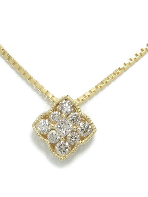 セレクトジュエリー『K18YGネックレス ダイヤモンド0.30ct フラワーモチーフ』1週間保証【中古】
