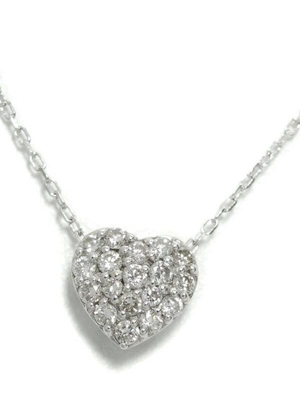 セレクトジュエリー『K18WGネックレス ダイヤモンド0.30ct ハートモチーフ』1週間保証【中古】