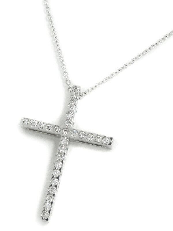 セレクトジュエリー『K18WGネックレス ダイヤモンド0.18ct クロスモチーフ』1週間保証【中古】