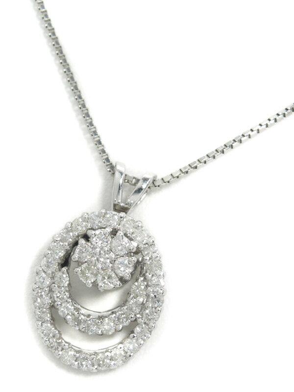 セレクトジュエリー『PT900/PT850ネックレス ダイヤモンド1.00ct スウィングモチーフ』1週間保証【中古】