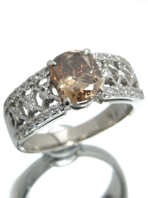 【ソーティング】【仕上済】セレクトジュエリー『PT900リング ダイヤモンド1.558ct/FANCY DARK BROWN/I-1 0.36ct』12号 1週間保証【中古】