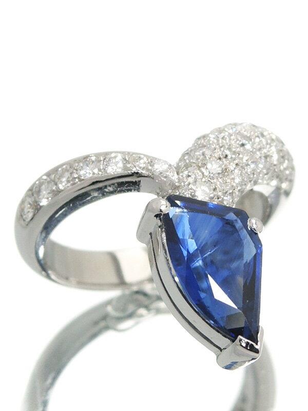 【ソーティング】セレクトジュエリー『K18WGリング サファイア2.25ct ダイヤモンド』10号 1週間保証【中古】