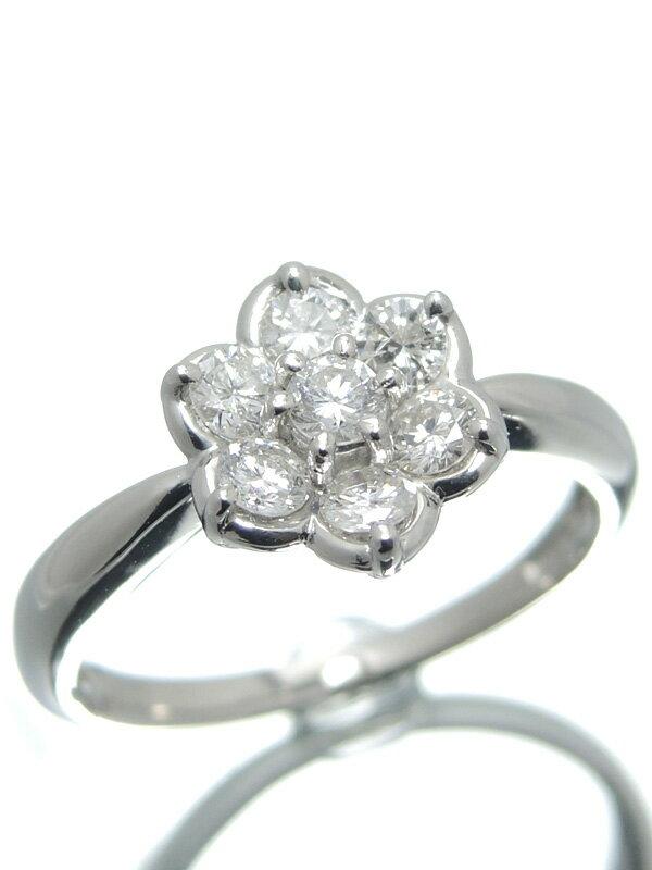 【仕上済】セレクトジュエリー『PT900リング ダイヤモンド0.50ct フラワーモチーフ』10号 1週間保証【中古】
