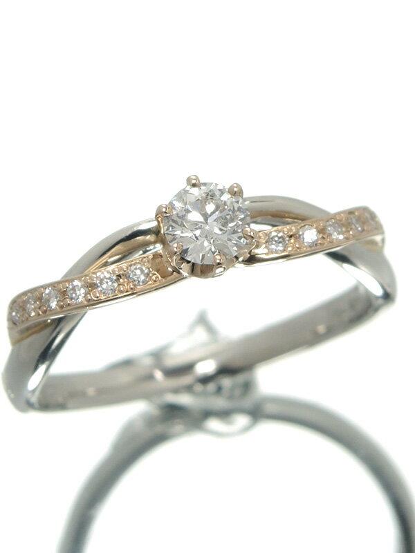 【仕上済】セレクトジュエリー『PT900/K18PGリング ダイヤモンド0.251ct 0.07ct』13号 1週間保証【中古】