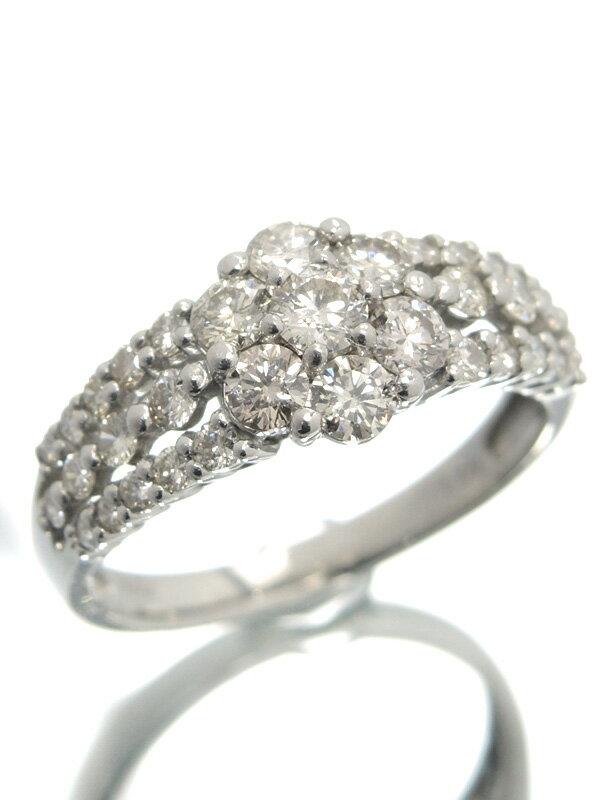 【仕上済】セレクトジュエリー『PT900リング ダイヤモンド1.00ct フラワーモチーフ』12号 1週間保証【中古】