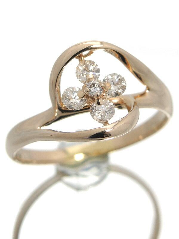 セレクトジュエリー『K18PGリング ダイヤモンド0.35ct フラワーモチーフ』17号 1週間保証【中古】