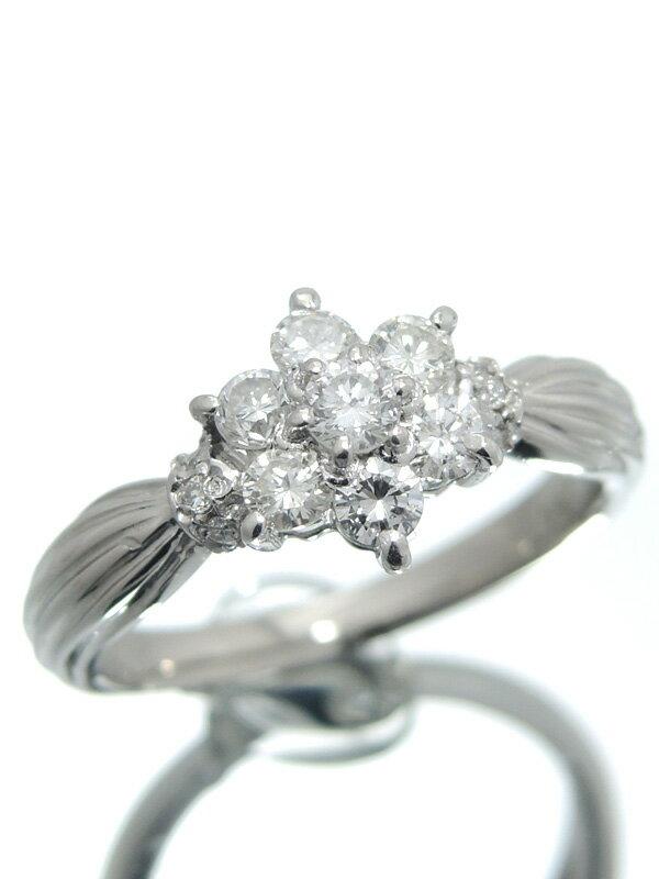 セレクトジュエリー『PT900リング ダイヤモンド0.50ct フラワーモチーフ』11号 1週間保証【中古】