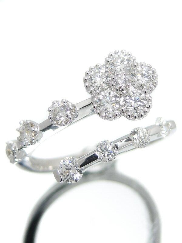 【仕上済】セレクトジュエリー『K18WGリング ダイヤモンド0.96ct フラワーモチーフ』13号 1週間保証【中古】