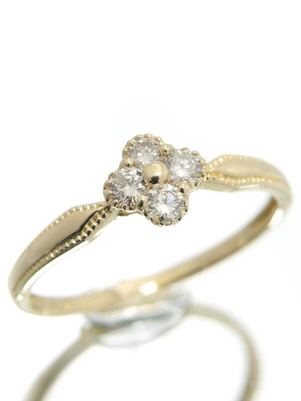 【仕上済】セレクトジュエリー『K18YGリング ダイヤモンド0.17ct フラワーモチーフ』11号 1週間保証【中古】