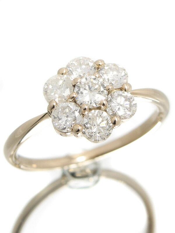 【仕上済】セレクトジュエリー『K18PGリング ダイヤモンド1.00ct フラワーモチーフ』11号 1週間保証【中古】