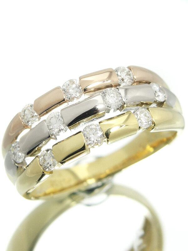 【仕上済】セレクトジュエリー『K18YG/K18PG/PT900リング ダイヤモンド0.50ct』12号 1週間保証【中古】