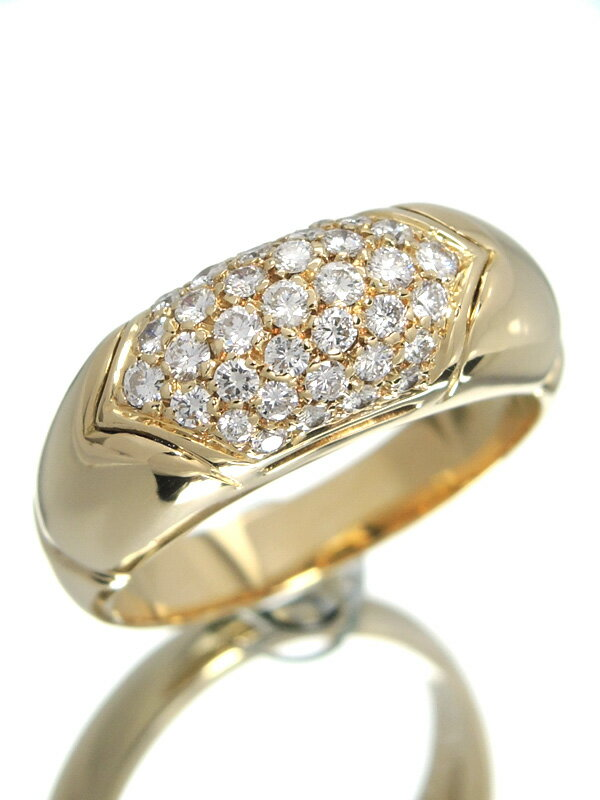 【BVLGARI】【仕上済】【パヴェダイヤ】ブルガリ『K18YGリング ダイヤモンド』11.5号 1週間保証【中古】