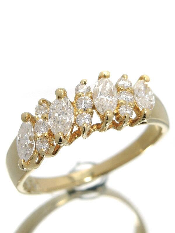 【QUEEN】クイーン『K18YGリング ダイヤモンド』13号 1週間保証【中古】