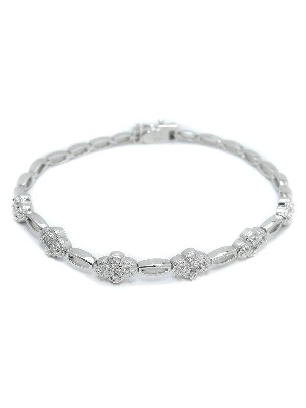 セレクトジュエリー『K18WGブレスレット ダイヤモンド0.25ct フラワーモチーフ』1週間保証【中古】