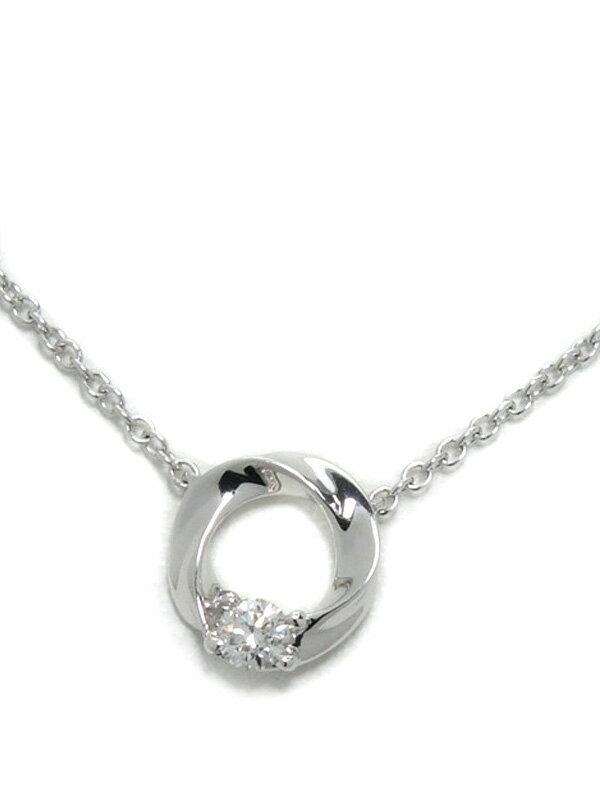 【Star Jewelry】スタージュエリー『K18WGネックレス ダイヤ0.03ct ツイストサークルモチーフ』1週間保証【中古】