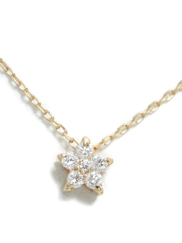 セレクトジュエリー『K18PGネックレス ダイヤモンド0.06ct フラワーモチーフ』1週間保証【中古】