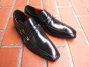 牛革仕様で光沢あるアッパーがきれいな紳士靴!HIROKO KOSHINO/ヒロコ コシノ ビジネス紳士靴 ブラック モンクストラップ スリップオン3Eワイズ ビジネス 送料無料