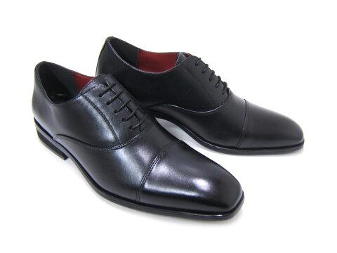 内張りにワンポイントのワインレッドが良く映える♪HIROKO KOSHINO/ヒロコ コシノ ビジネス HK128IZ-BLK/RED紳士靴 ブラック ストレートチップ 内羽根 ロングノーズ3Eワイズ ビジネス パーティー 送料無料