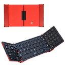 【レターパックプラス発送・送料無料】3E Bluetooth 3つ折りタイプ キーボード 3E-BKY7-BR ブラック×レッド